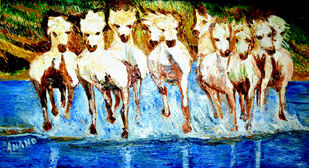 ROYAL HORSES by Anand Swaroop, Expressionism Painting, Oil on Canvas, Beige color