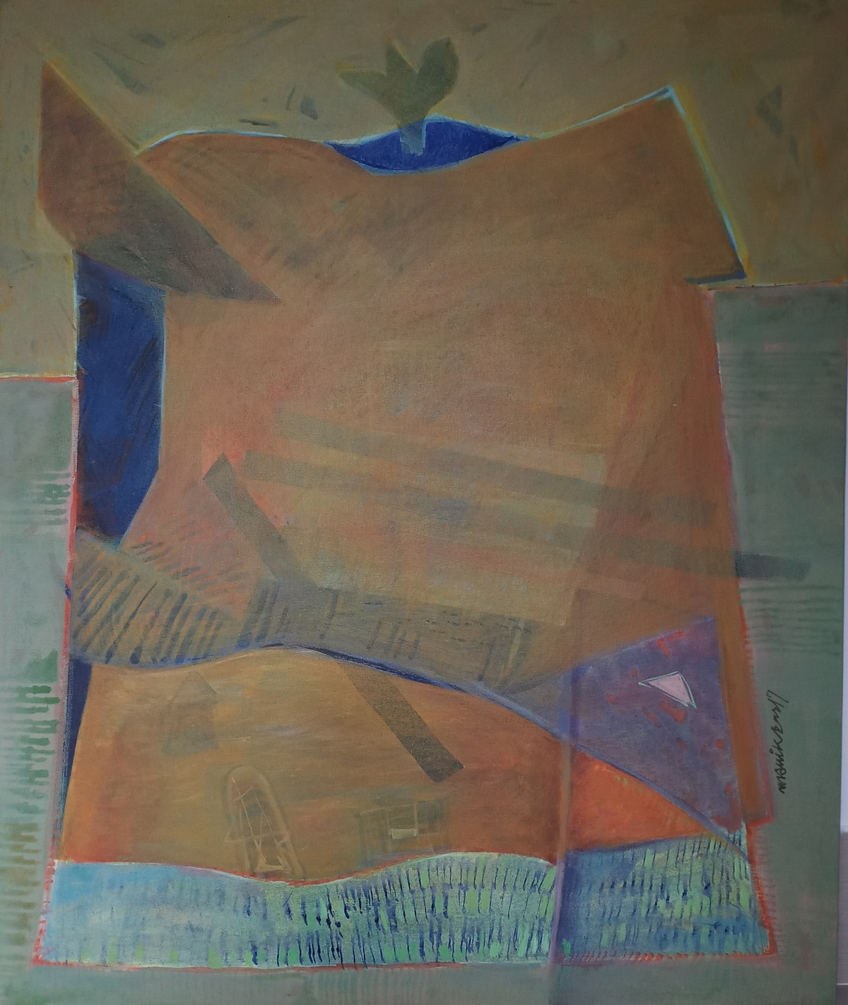 Landscape 3 by manik das, Geometrical Painting, Acrylic on Canvas, Brown color