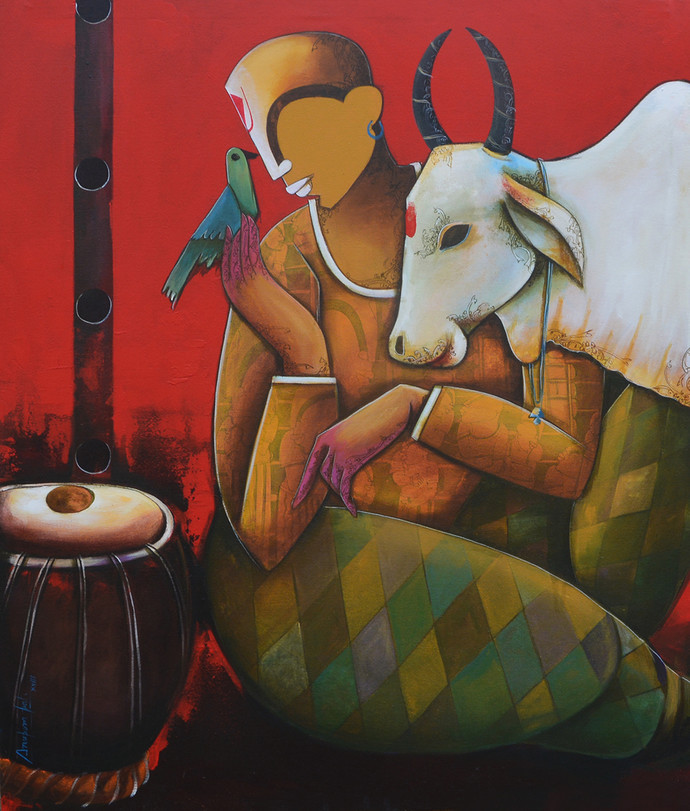 conversation with bird by anupam pal, Decorative Painting, Acrylic on Canvas, Brown color