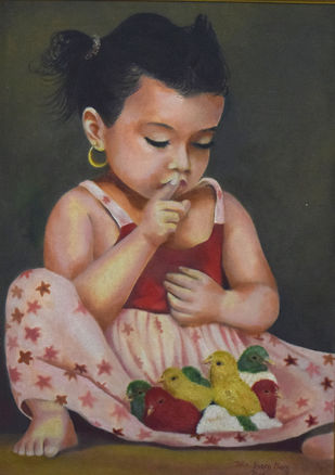 Silence Please by John Bosco Mary, Expressionism Painting, Oil on Canvas, Brown color