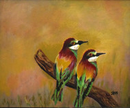Love Birds by John Bosco Mary, Impressionism Painting, Oil on Canvas, Brown color