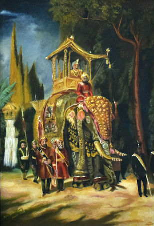 A Royal Journey by John Bosco Mary, Impressionism Painting, Oil on Canvas, Green color