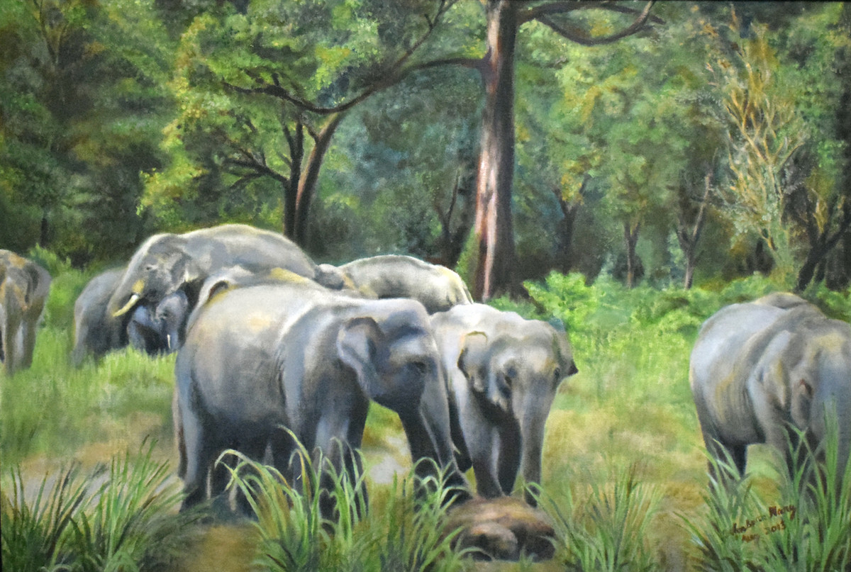 Elephants in a Forest Digital Print by John Bosco Mary,Realism