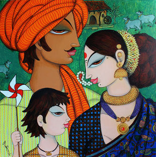 family by Varsha Kharatmal, Expressionism Painting, Acrylic on Canvas, Brown color