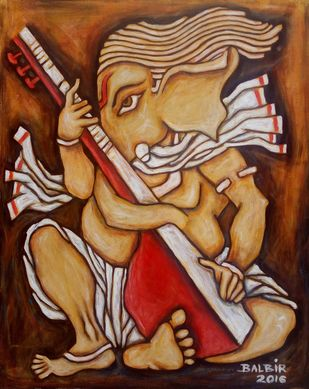 GANESHA 2 by Balbir Singh, Expressionism Painting, Acrylic on Canvas, Brown color