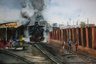 Toy Train by Krishnendu Chatterjee, Impressionism Painting, Watercolor Wash on Paper, Gray color