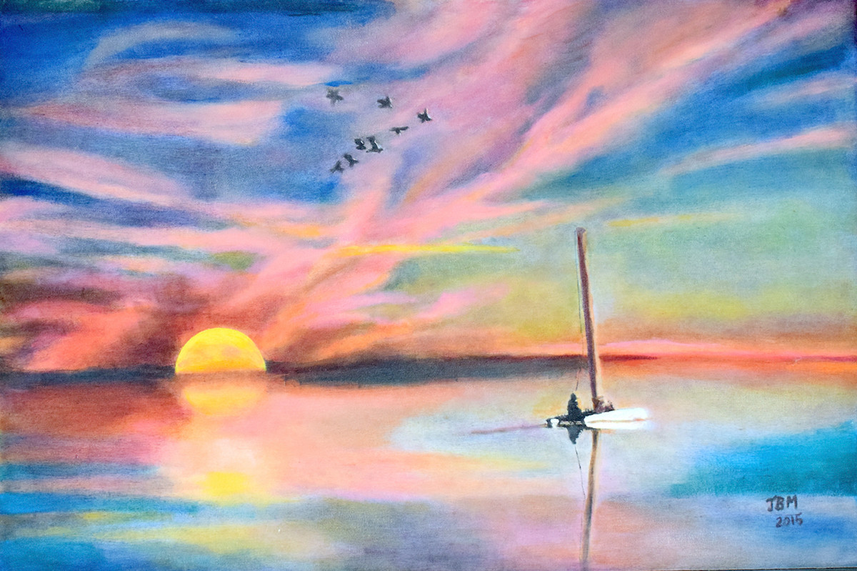 Dawn or Dusk by John Bosco Mary, Impressionism Painting, Oil on Canvas, Pink color