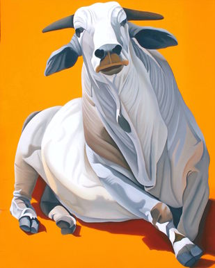 Bull by Feroz Khan, Photorealism Painting, Oil on Canvas,