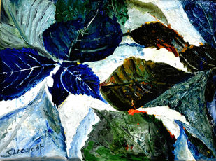LEAVES LEAVES AND LEAVES-1 by Anand Swaroop, Expressionism Painting, Mixed Media, Green color
