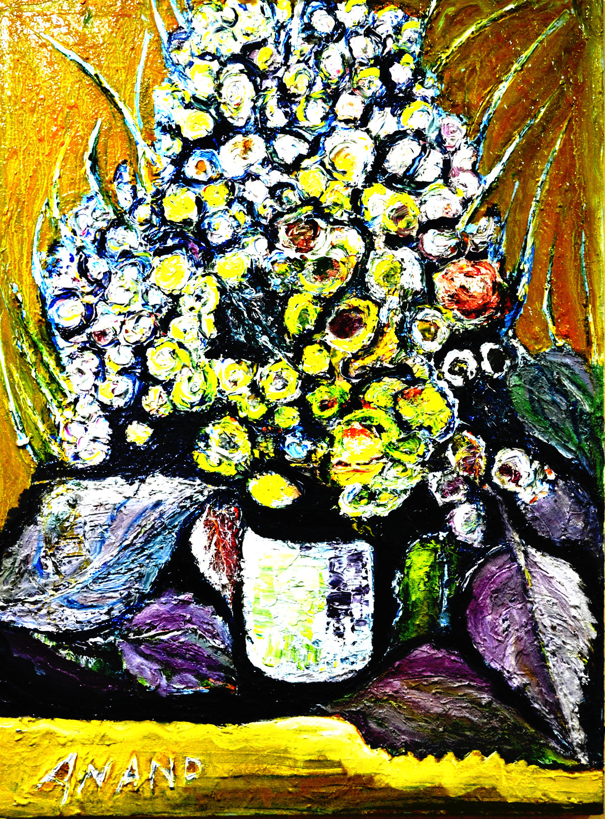 STILL-LIFE-1 by Anand Swaroop, Expressionism Painting, Mixed Media on Canvas, Green color