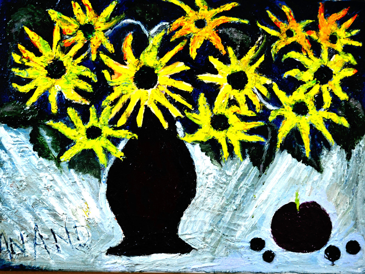 STILL-LIFE-2 by Anand Swaroop, Expressionism Painting, Mixed Media on Canvas, Green color