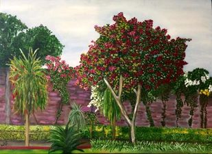 La gardenia by Alia Sayed, Impressionism Painting, Oil on Canvas, Brown color