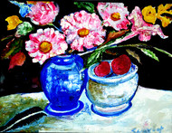 STILL-LIFE-9 by Anand Swaroop, Expressionism Painting, Acrylic on Canvas, Blue color