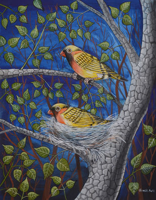 Birds Painting 38 by santosh patil, Decorative Painting, Watercolor on Paper, Blue color