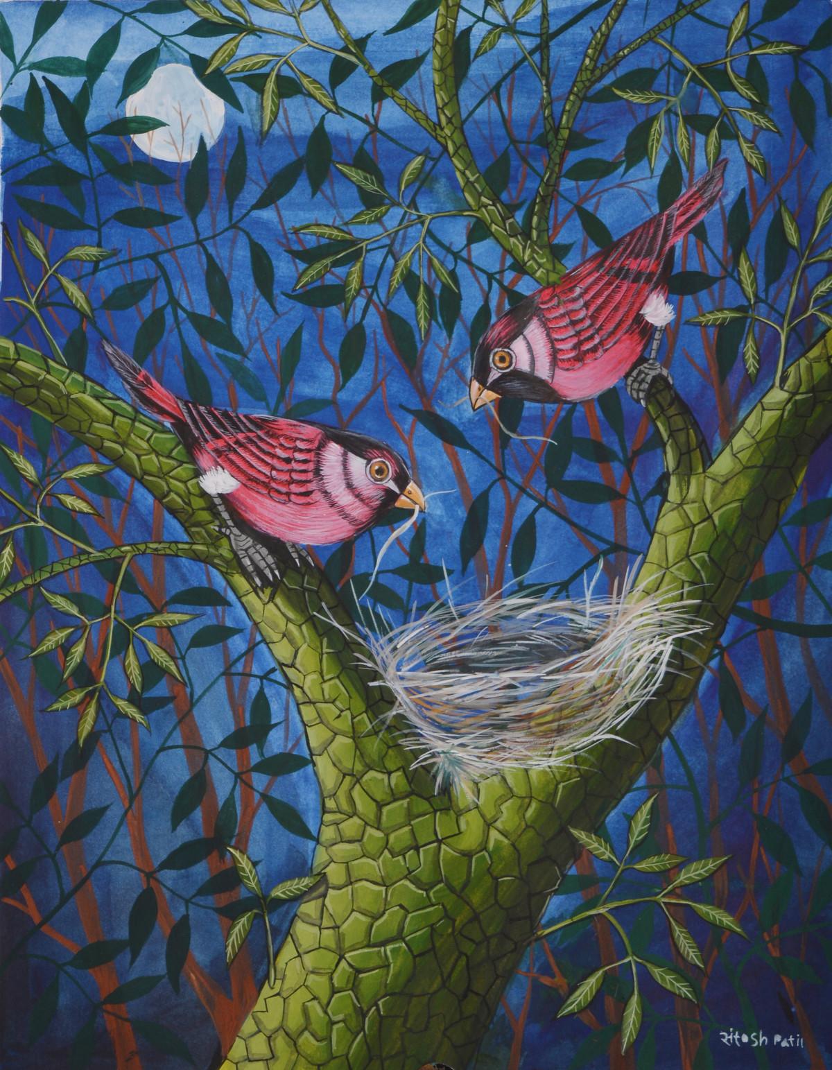Birds Painting 39 by santosh patil, Decorative Painting, Watercolor on Paper, Blue color