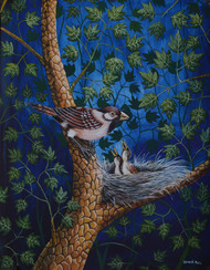 Bird Painting 40 by santosh patil, Impressionism Painting, Watercolor on Paper, Blue color
