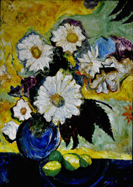 STILL-LIFE- by Anand Swaroop, Expressionism Painting, Oil on Canvas, Green color