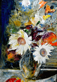 STILL-LIFE- by Anand Swaroop, Expressionism Painting, Oil on Canvas, Gray color