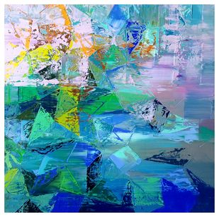 Untitled by Nivas Kanhere, Abstract Painting, Oil on Canvas, Cyan color