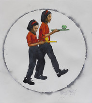 Ball race II by Manojkumar M.Sakale, Illustration Painting, Watercolor on Paper, Gray color