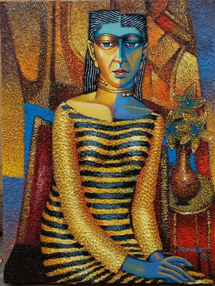 Girl rest on chair by Dayanand Kamakar, Expressionism Painting, Oil & Acrylic on Canvas, Brown color