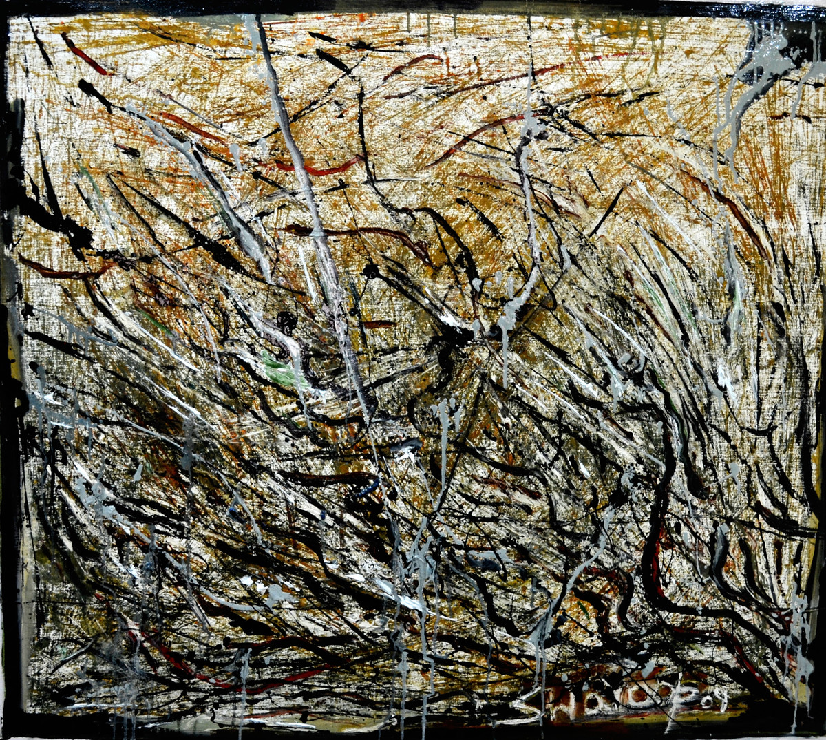 NEW ABSTRACT-2 by Anand Swaroop, Abstract Painting, Oil on Canvas, Brown color