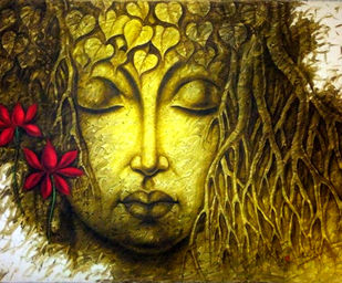 Buddha by prince chand, Expressionism Painting, Oil on Canvas,