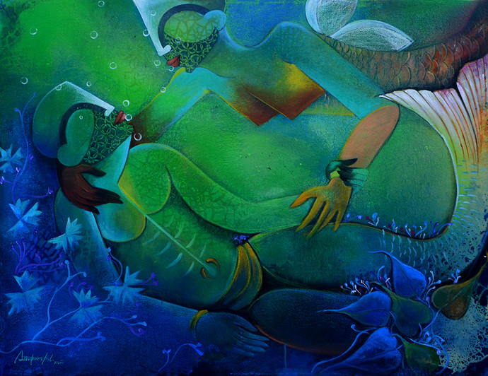 underwater romance by anupam pal, Decorative Painting, Mixed Media on Canvas, Green color