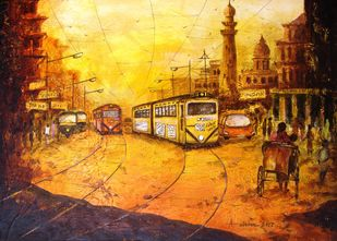 TRUM in Kolkata by Anirban Seth, Impressionism Painting, Acrylic on Canvas, Brown color