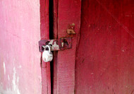 Pink Door by Sayali, Image Photography, Digital Print on Canvas, Red color