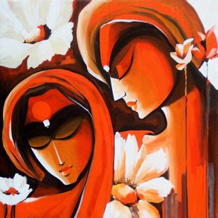 Loving Couples2 by pradeesh k raman, Decorative Painting, Acrylic on Canvas, Brown color