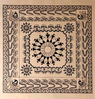 Warli design by Rashmi Puranik-Thete, Folk Painting, Acrylic on Paper, Beige color
