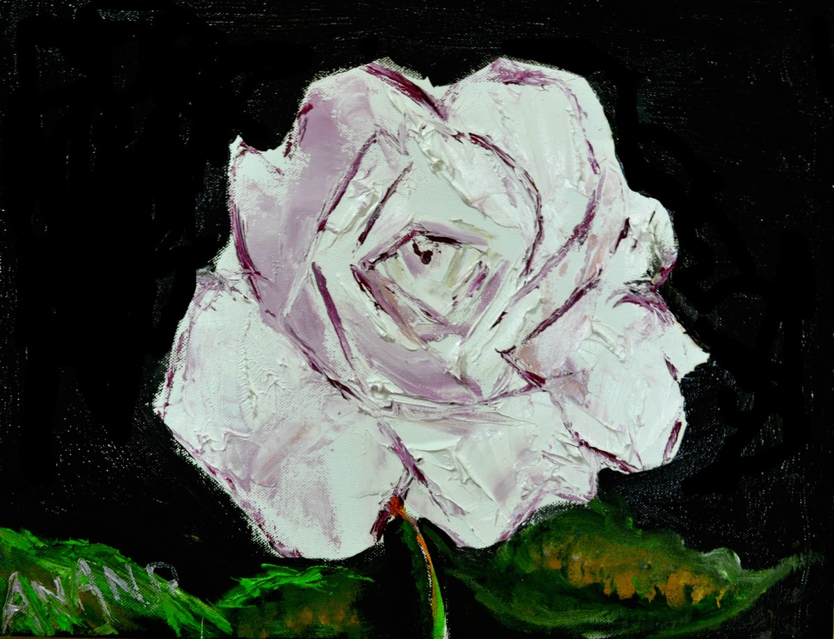 FLOWER STUDY-4 by Anand Swaroop, Decorative Painting, Oil on Canvas, Black color