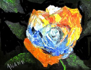 FLOWER STUDY-2 by Anand Swaroop, Decorative Painting, Oil on Canvas, Black color