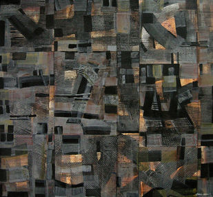 UNTITLED by V .Hariraam , Abstract Painting, Acrylic on Canvas, Gray color