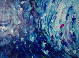 Mayur pankhi by Broti Ganguly, Abstract Painting, Acrylic on Canvas, Blue color
