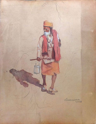 sadhu by Sreenivasa Ram Makineedi, Impressionism Painting, Watercolor on Paper, Beige color