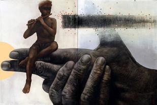 Deep Insight 3 by Guru kinkar , Impressionism Painting, Mixed Media on Canvas, Gray color