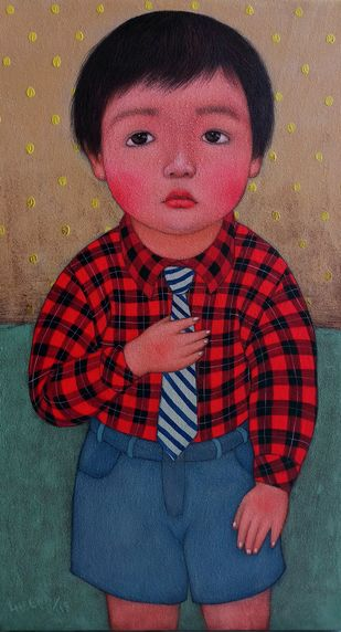 My first school day 2 by Meena Laishram, Expressionism Painting, Acrylic on Canvas, Brown color