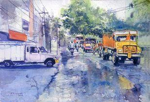 RainyDay by Sreenivasa Ram Makineedi, Impressionism Painting, Watercolor on Paper, Cyan color