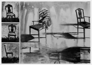 It's about Kursi by Rudra Majithia, Impressionism Painting, Watercolor and charcoal on paper, Gray color