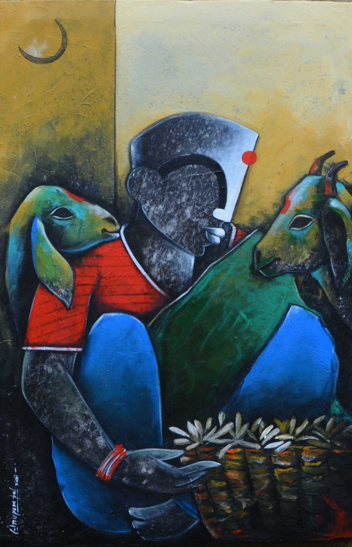Pondering life by anupam pal, Decorative Painting, Acrylic on Canvas, Blue color