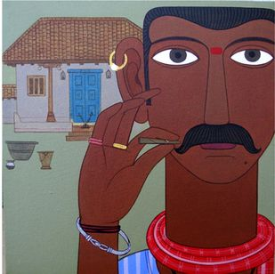 Rajaiah by Kandi Narsimlu, Expressionism Painting, Acrylic on Canvas, Brown color