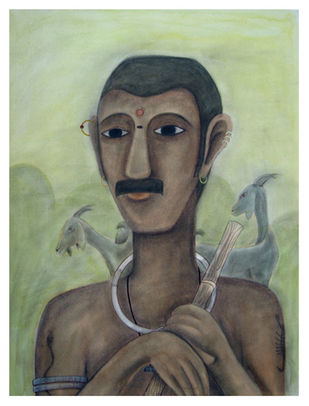 Mekala Boodaiah by Kandi Narsimlu, Expressionism Painting, Watercolor and charcoal on paper, Beige color