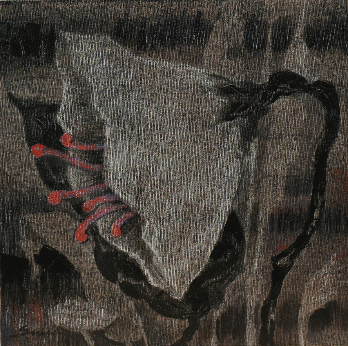 Blossom 1 by Sulakshana Dharmadhikari, Expressionism Painting, Acrylic on Canvas, Gray color