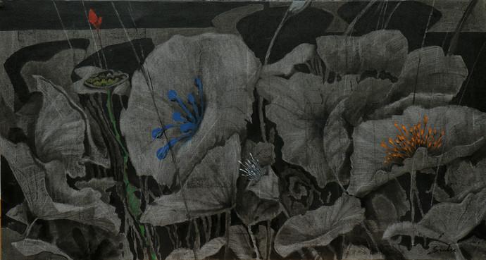 Blossom 2 by Sulakshana Dharmadhikari, Expressionism Painting, Acrylic on Canvas, Gray color