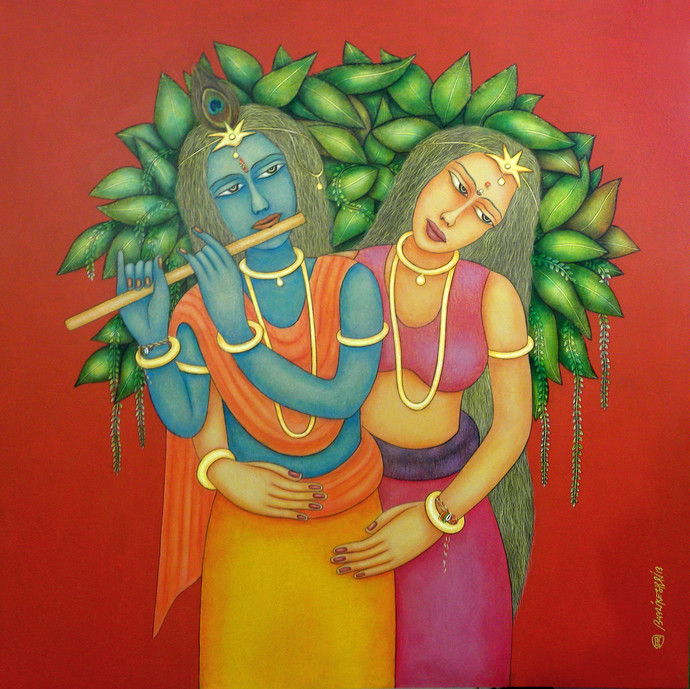 Radha Krishna by Babli Keshri, Traditional Painting, Acrylic on Canvas, Red color