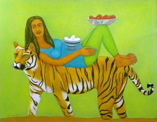 Tie Up by Babli Keshri, Expressionism Painting, Acrylic on Canvas, Green color