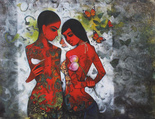 Untitled by Mukesh Salvi, Expressionism Painting, Acrylic on Canvas, Gray color