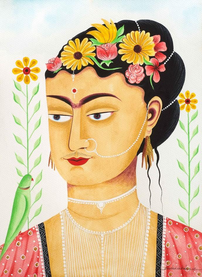 Kali-Kahlo 2 by Bhaskar Chitrakar, Folk Painting, Natural colours on paper, Brown color